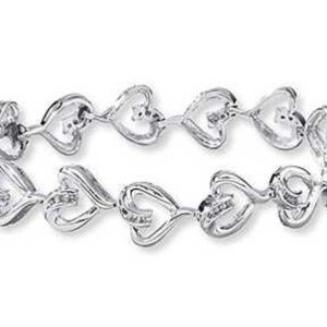 Swirly Diamond and Heart Sterling Silver Bracelet